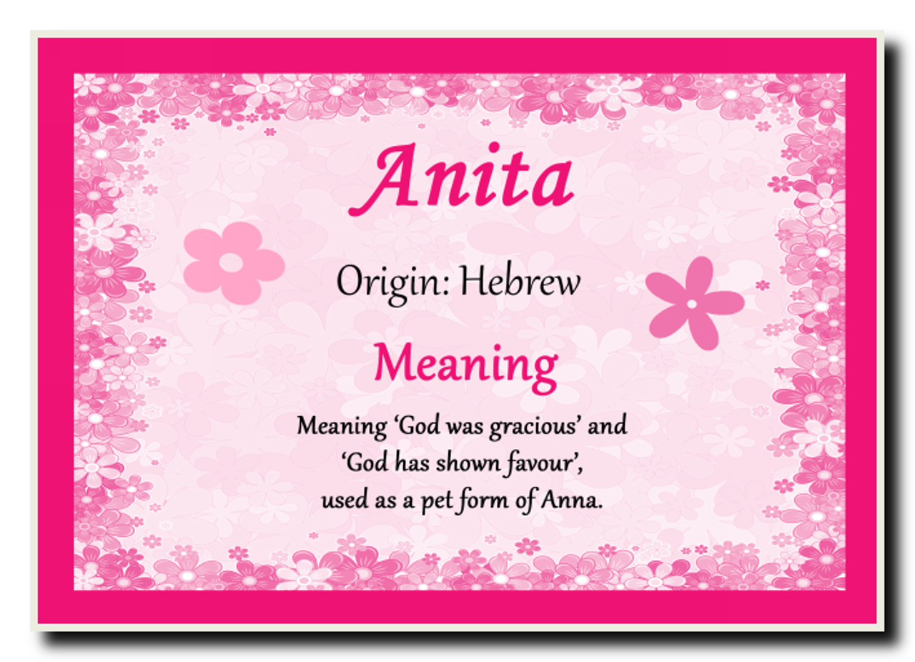 Anita Personalised Name Meaning Coaster