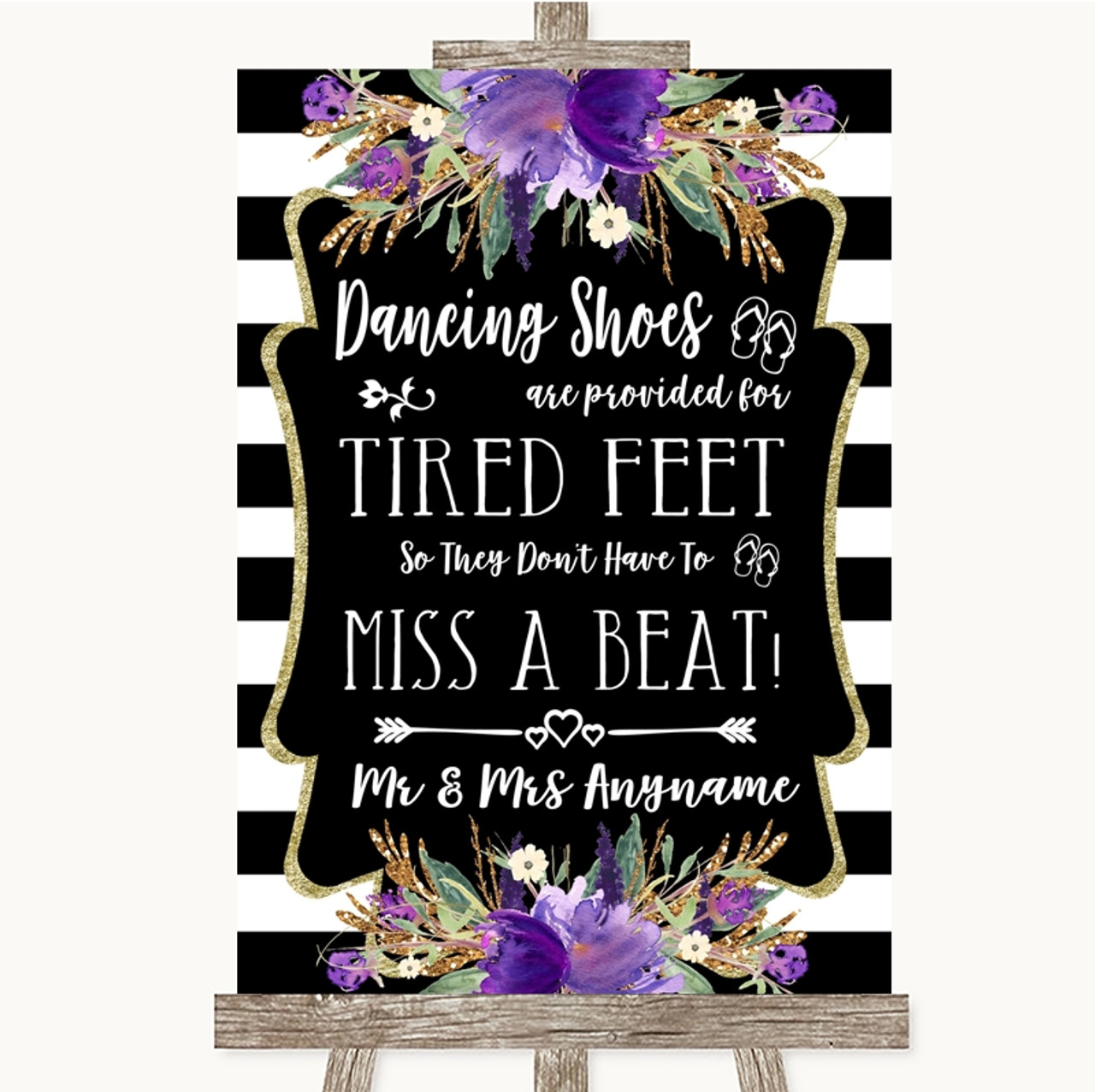 120ee417cad94e Black   White Stripes Purple Dancing Shoes Flip-Flop Tired Feet Wedding Sign