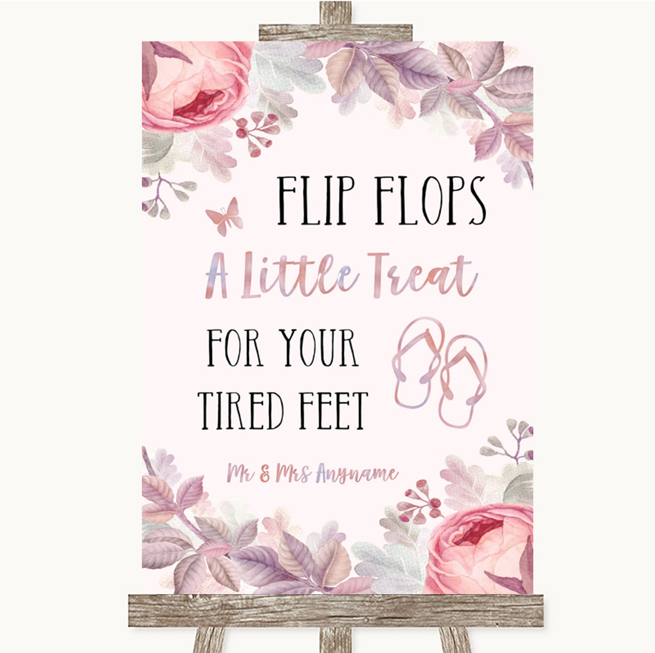 2cf9c4a86a6ab Blush Rose Gold & Lilac Flip Flops Dancing Shoes Personalised Wedding Sign