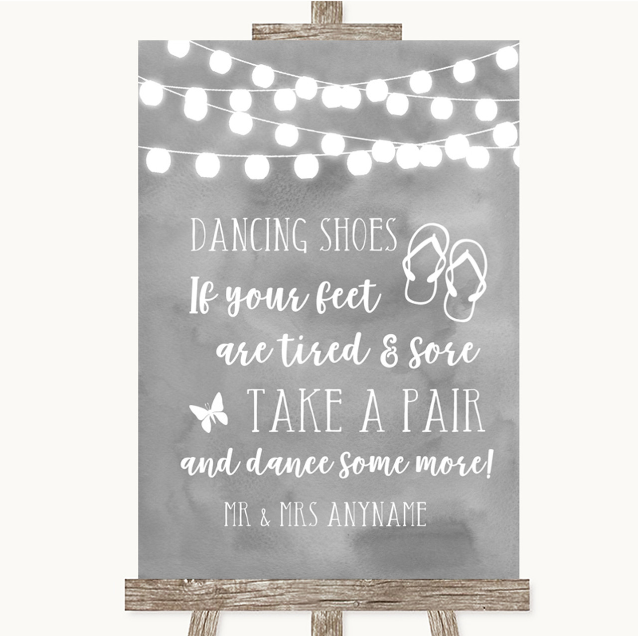 05a6537b9 Grey Watercolour Lights Dancing Shoes Flip Flops Personalised Wedding Sign