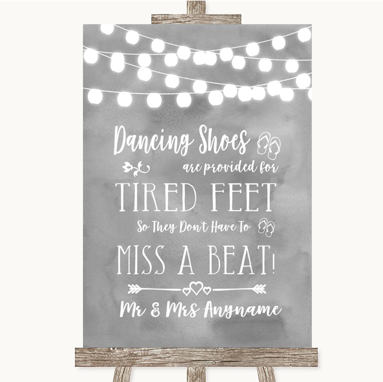 15ec6bb1b Grey Watercolour Lights Dancing Shoes Flip-Flop Tired Feet Wedding Sign