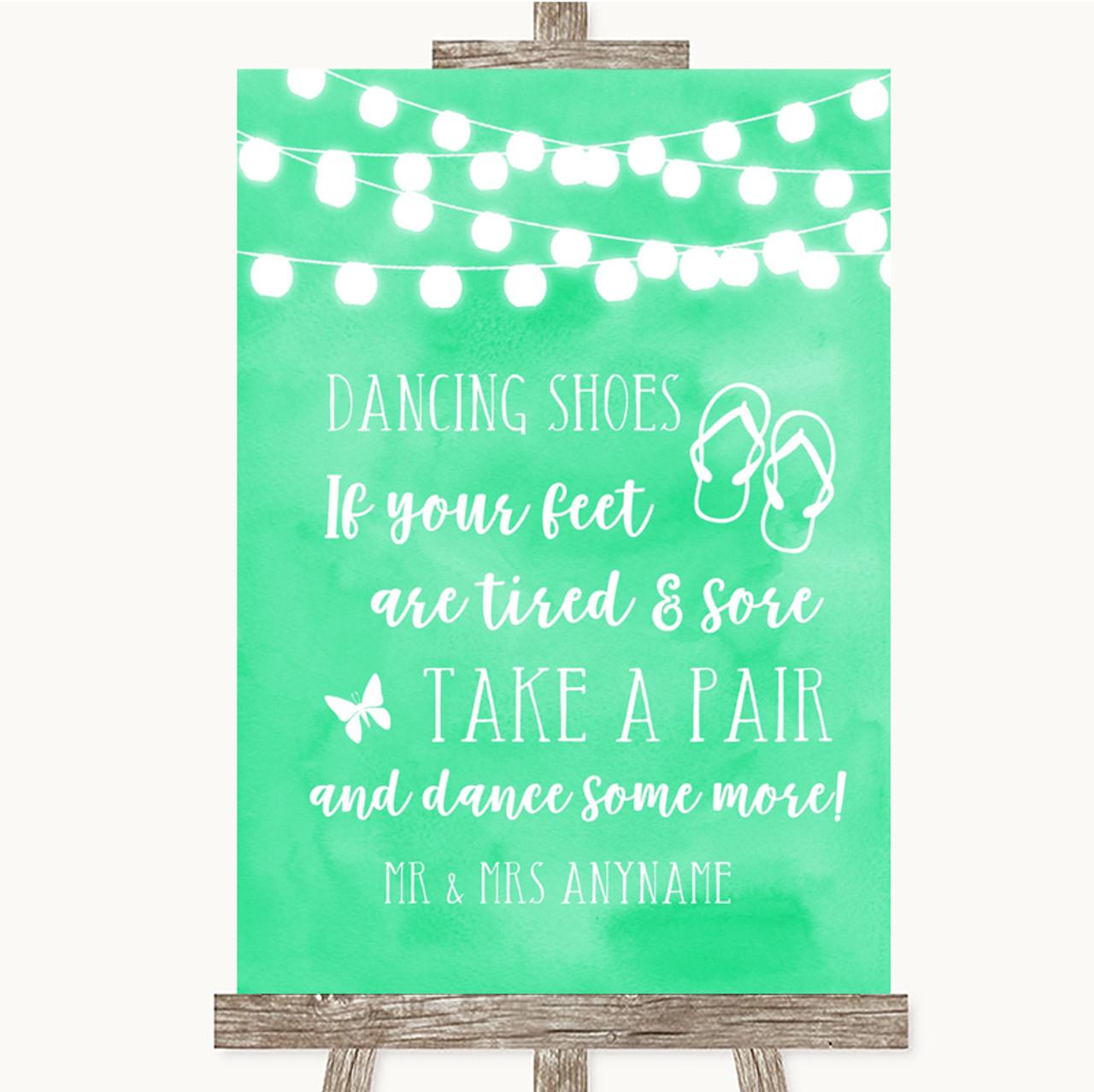 0a179ecc6 Mint Green Watercolour Lights Dancing Shoes Flip Flops Personalised Wedding  Sign