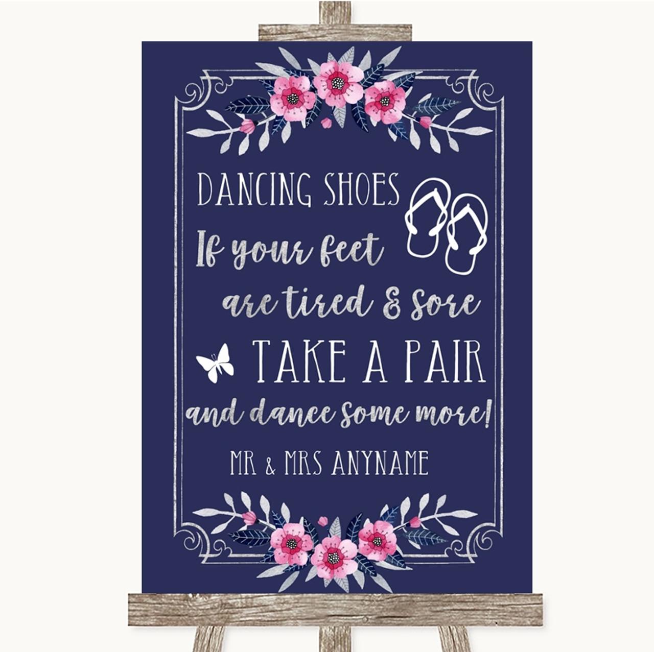 8107aadd1 Navy Blue Pink   Silver Dancing Shoes Flip Flops Personalised Wedding Sign