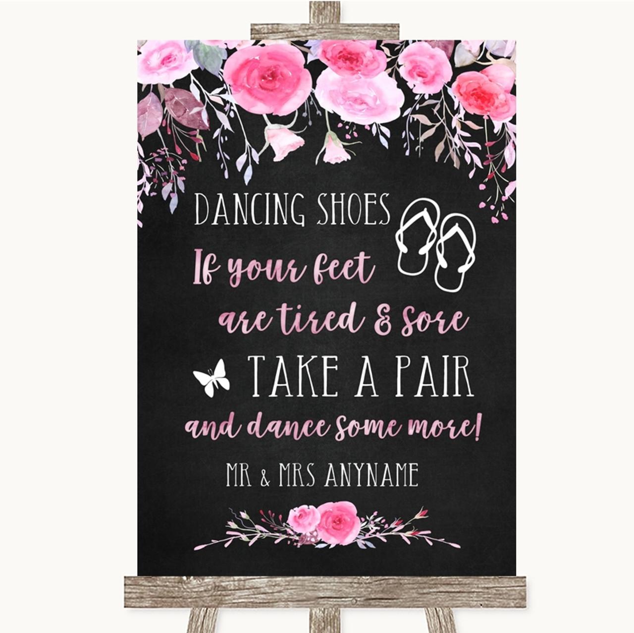 cb8d260a5 Chalk Style Watercolour Pink Floral Dancing Shoes Flip Flops Wedding Sign