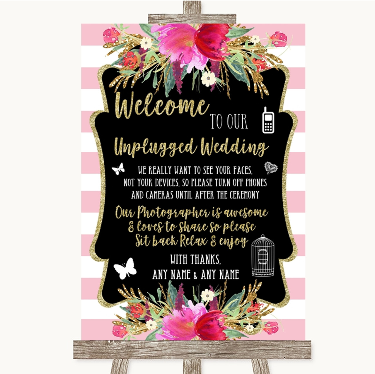 Pink Watercolour Floral No Phone Camera Unplugged Personalised Wedding Sign