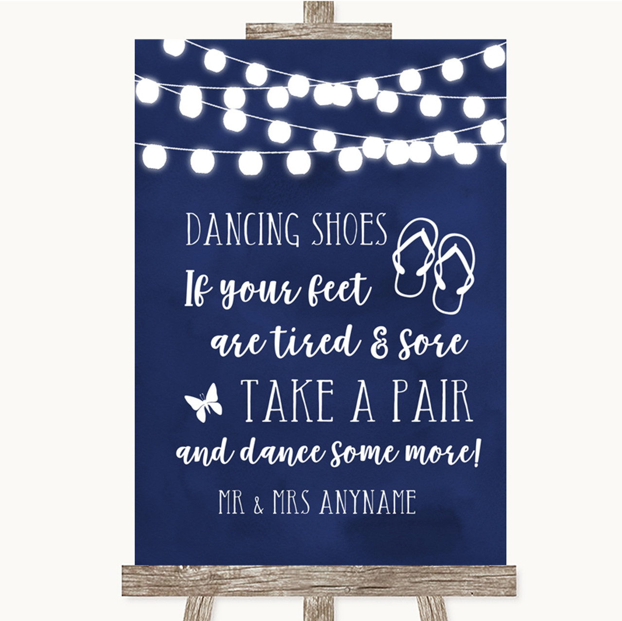 f2b9983c6 Navy Blue Watercolour Lights Dancing Shoes Flip Flops Personalised Wedding  Sign