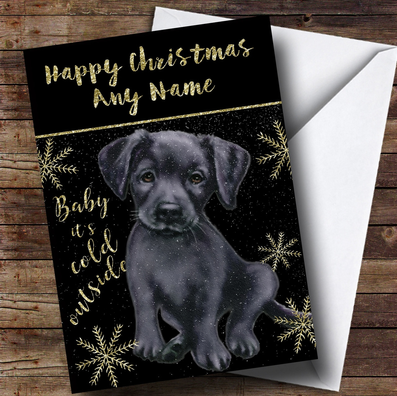 Cold Outside Snow Dog Black Labrador Personalised Christmas Card ...