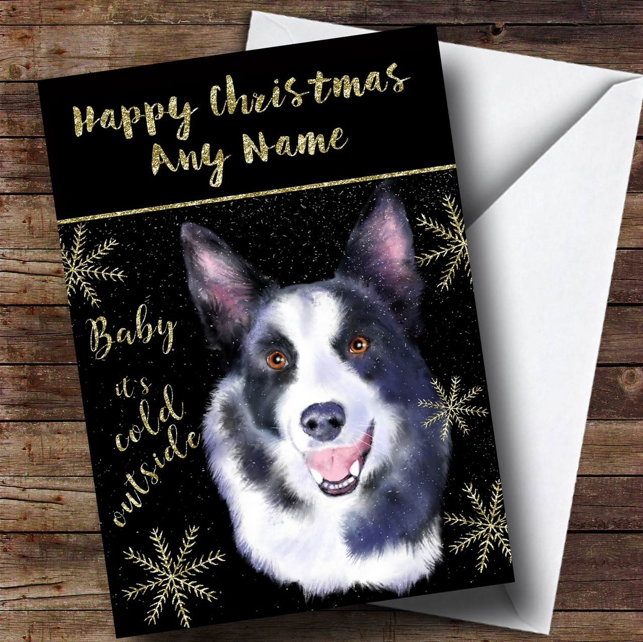 Cold Outside Snow Dog Border Collie Personalised Christmas Card ...