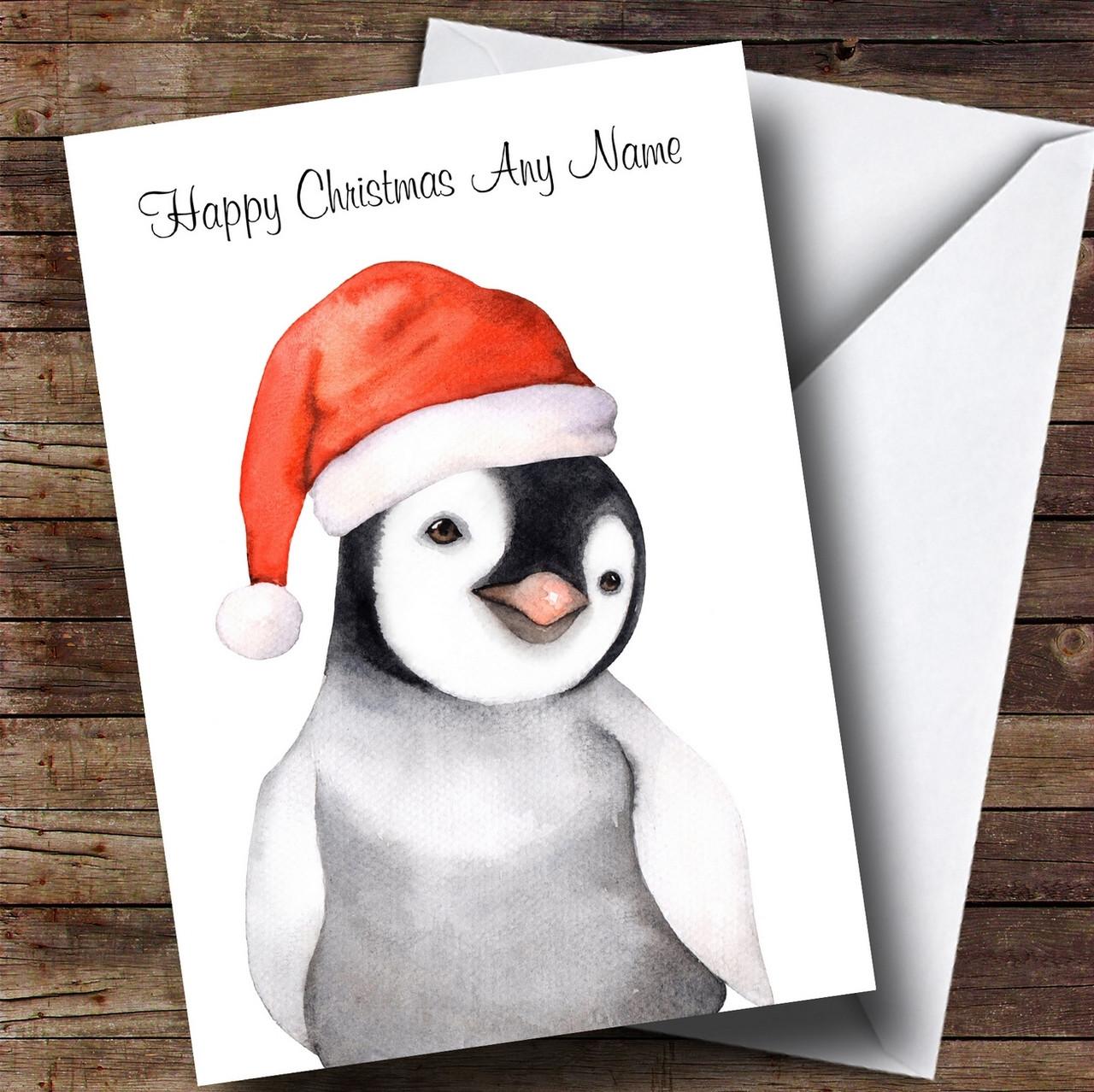 84b941f84ccef Cute Watercolour Penguin Santa Hat Personalised Childrens Christmas Card