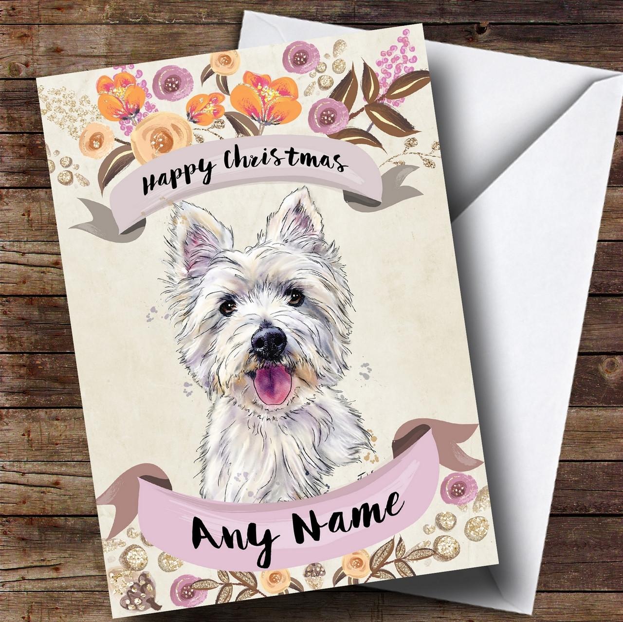 Rustic Gold Dog Westie West Highland Terrier Personalised Cute ...