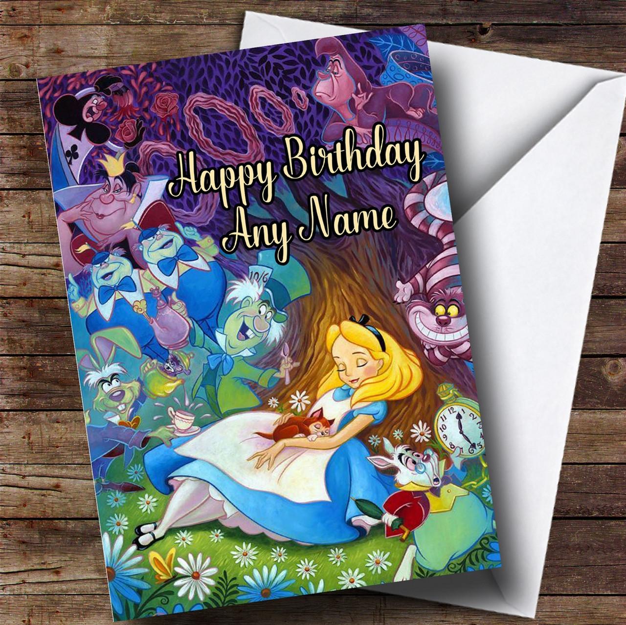 Personalised Disney Alice In Wonderland Childrens Birthday Card