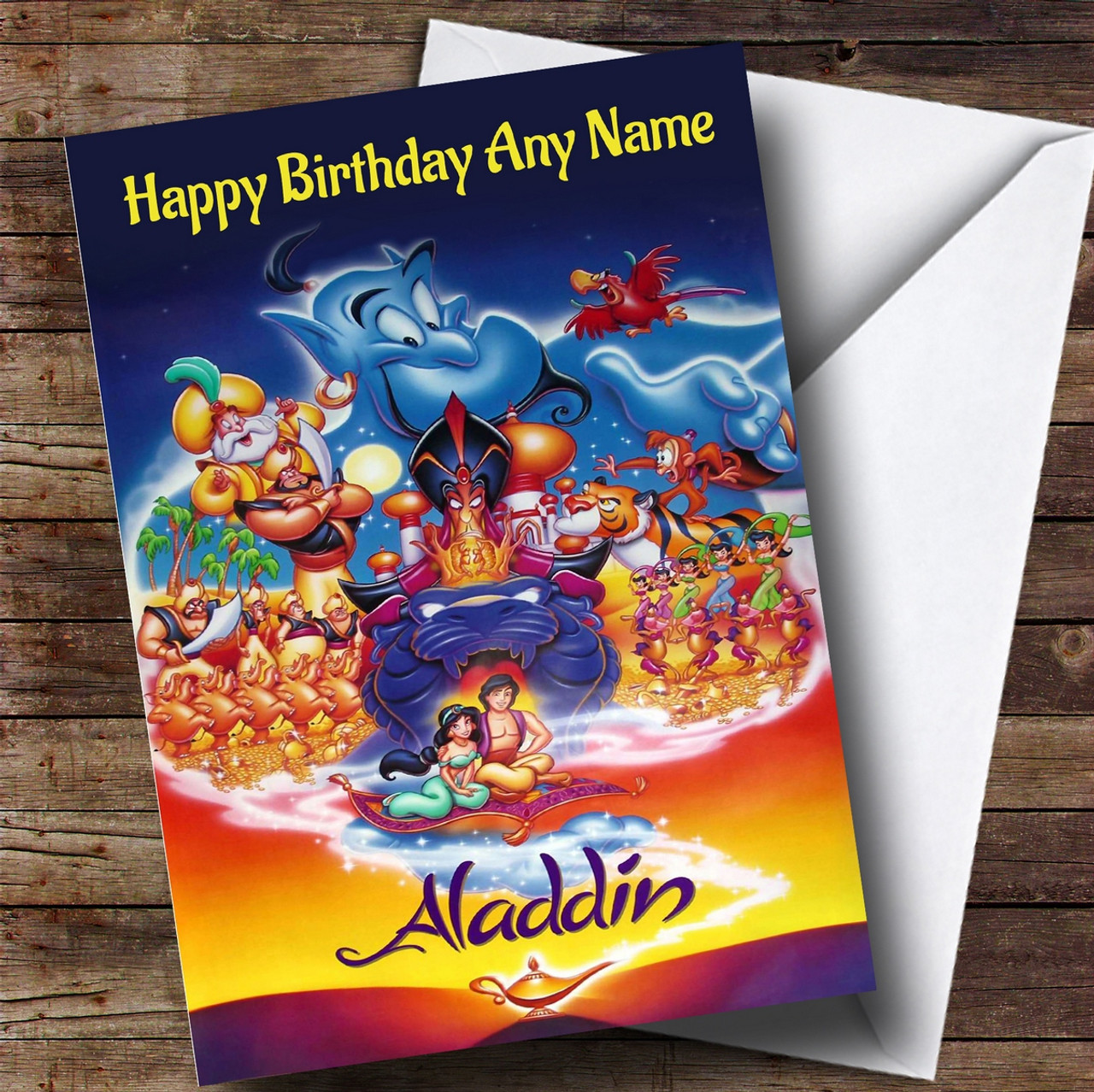 Personalised Aladdin Disney Characters Childrens Birthday Card