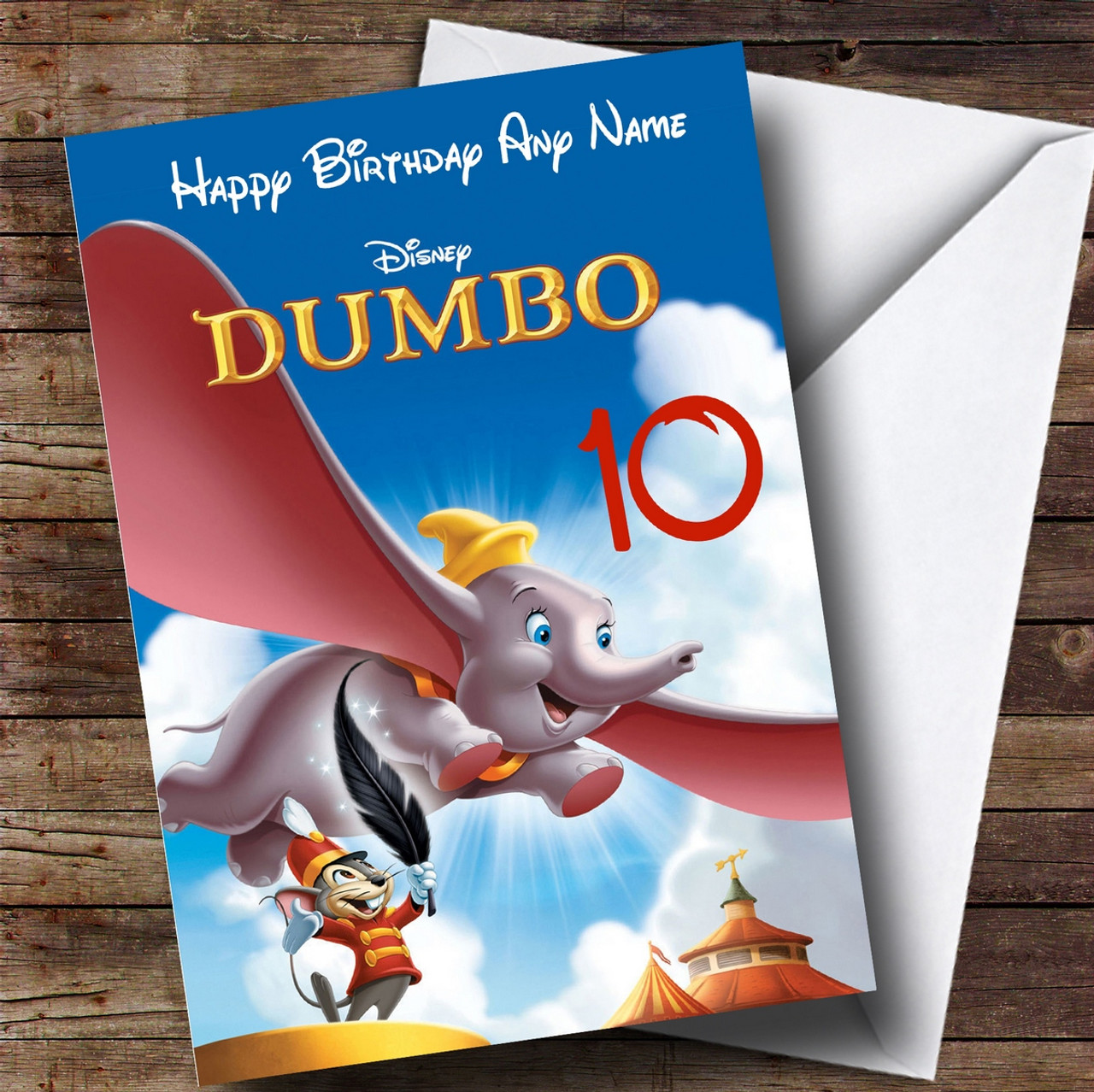 PERSONALISED CHRISTENING PARTY GAME WISHES FOR BABY BLUE PINK DISNEY DUMBO