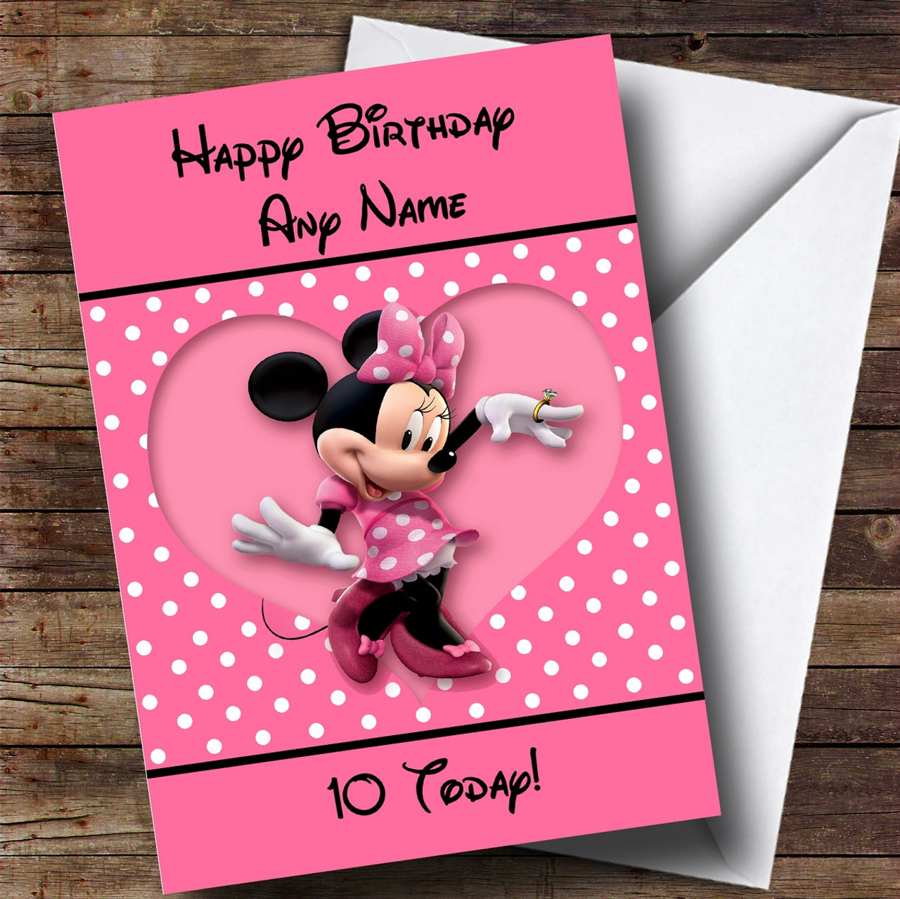 Personalised Disney Minnie Mouse Childrens Birthday Card