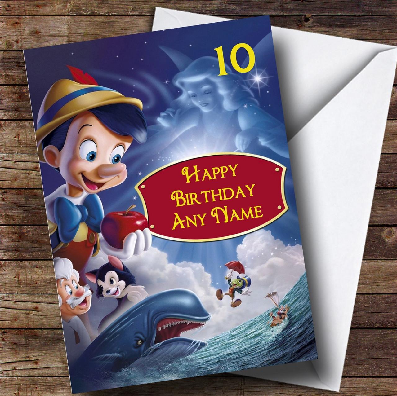 Personalised Disney Pinocchio Childrens Birthday Card