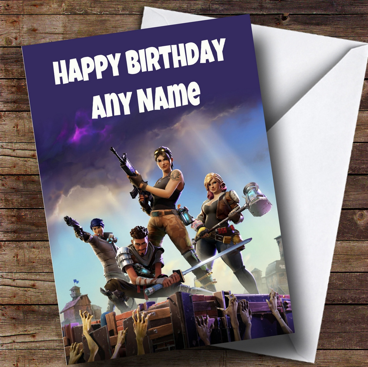 image about Fortnite Birthday Card Printable called Personalized Fortnite Video game Childrens Birthday Card