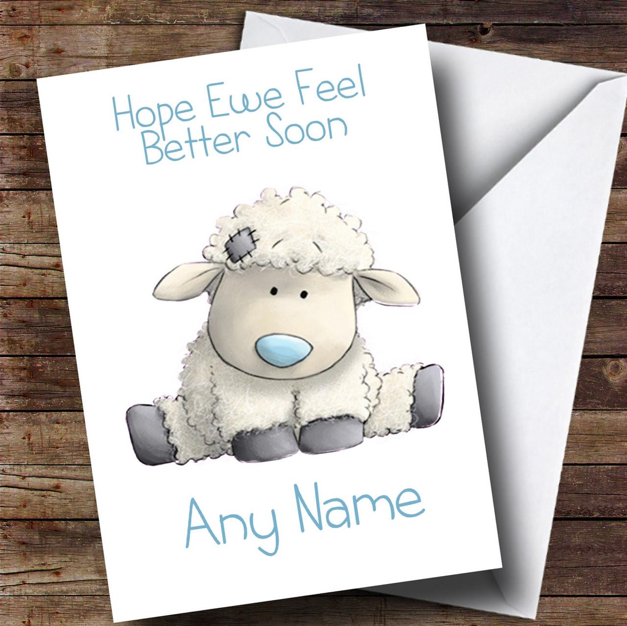 Personalised Hope Ewe Feel Better Get Well Soon Card