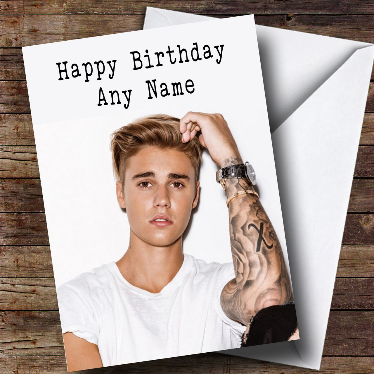 Personalised Justin Bieber Celebrity Birthday Card