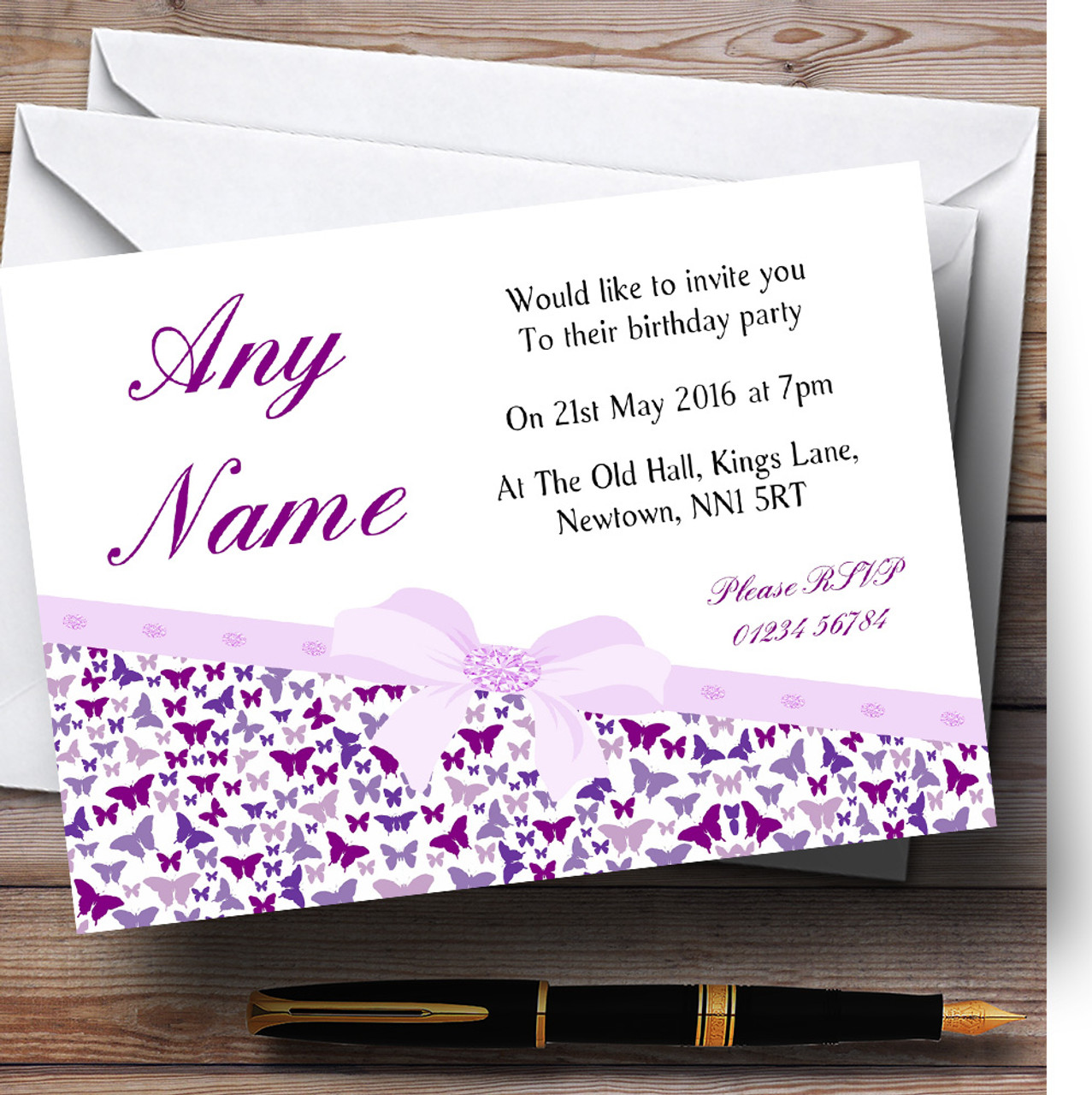 Classic Purple Butterfly Pretty Butterflies Birthday Party Personalised Invitations