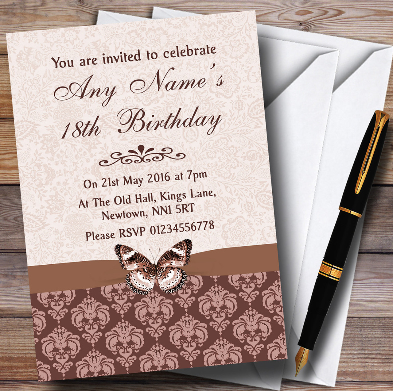 Brown Fawn Beige Vintage Floral Damask Butterfly Personalised Birthday Party Invitations