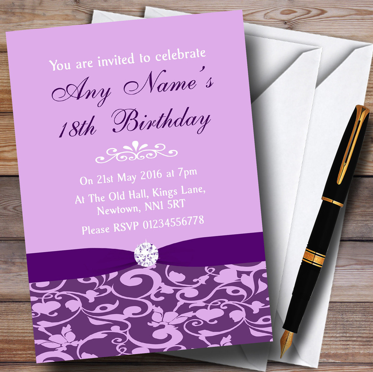 Cadbury Purple Vintage Floral Damask Diamante Personalised Birthday Party Invitations