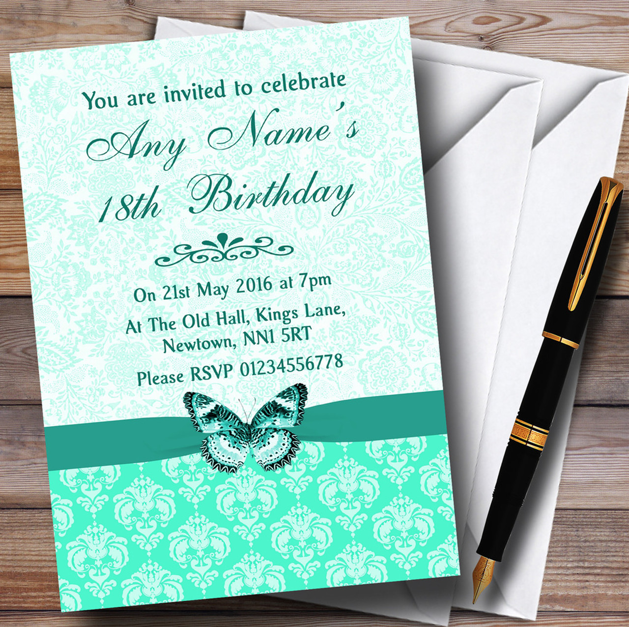 Mint Green Vintage Floral Damask Butterfly Personalised Birthday Party Invitations
