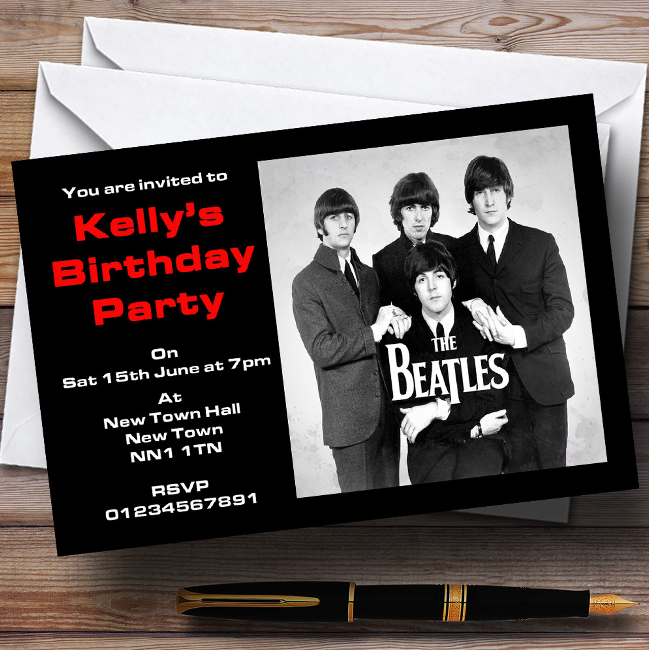 The Beatles Personalised Party Invitations The Card Zoo