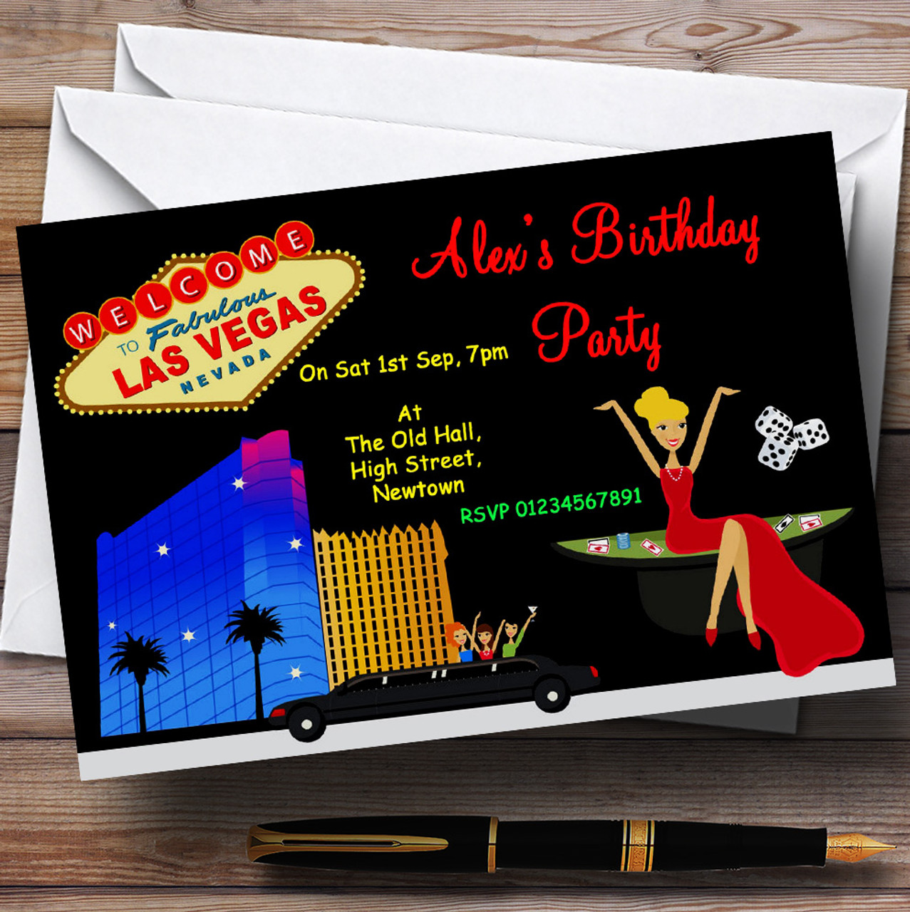 Casino Las Vegas Theme Personalised Birthday Party Invitations