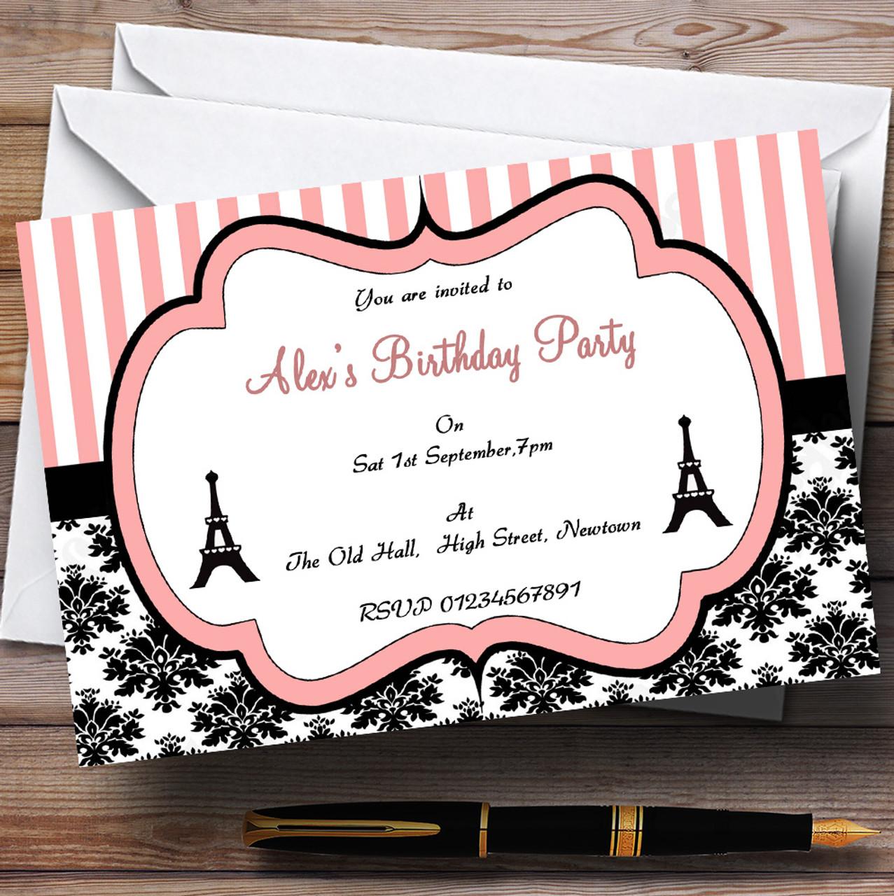 Parisian Paris Eiffel Tower Vintage Chic Theme Personalised Birthday Party Invitations