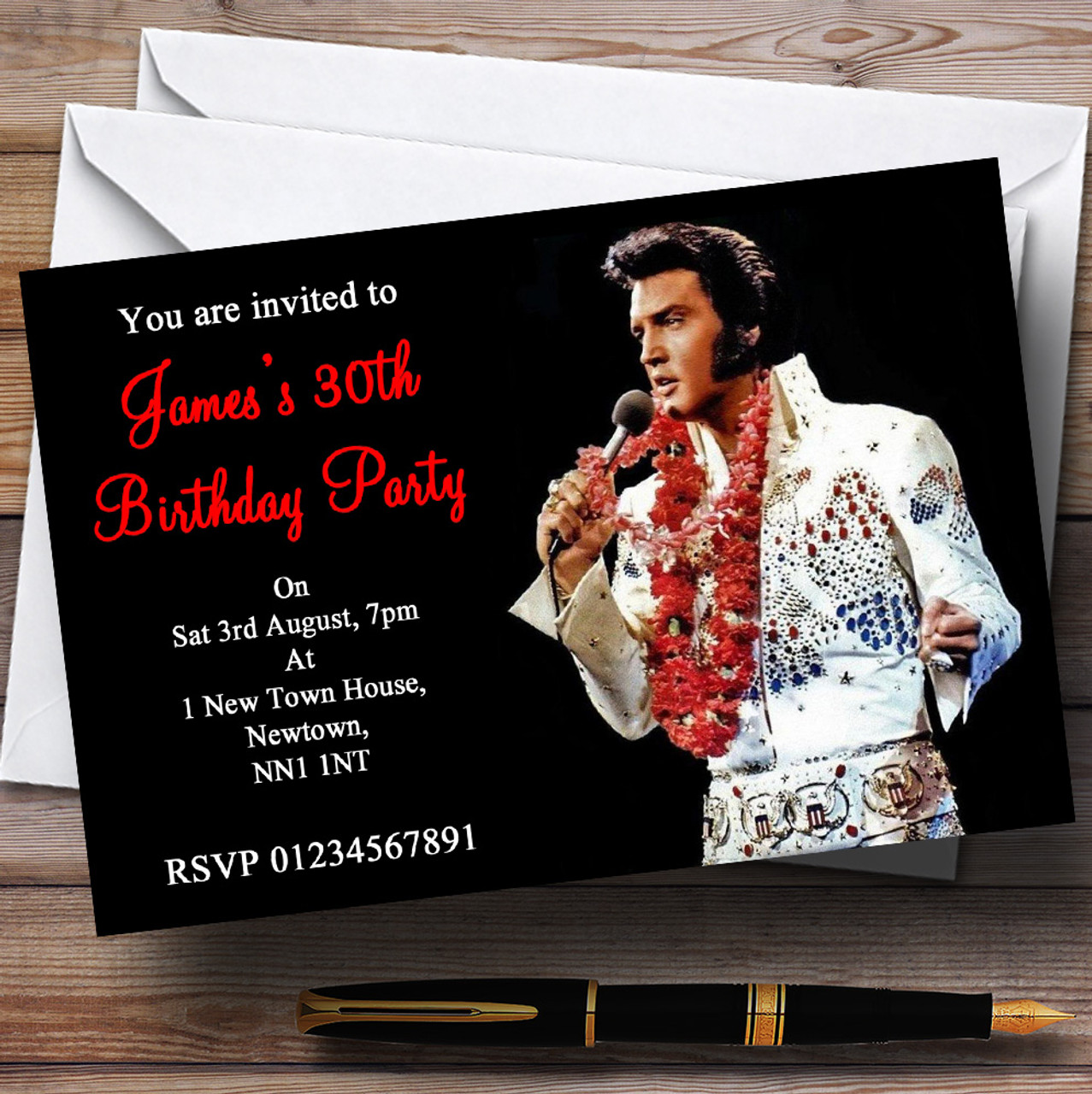 Elvis Presley Red Personalised Party Invitations The Card Zoo