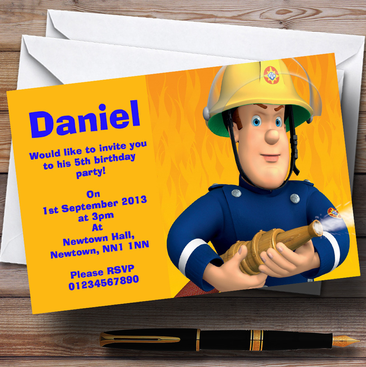 Fireman Sam Personalised Children S Birthday Party Invitations The