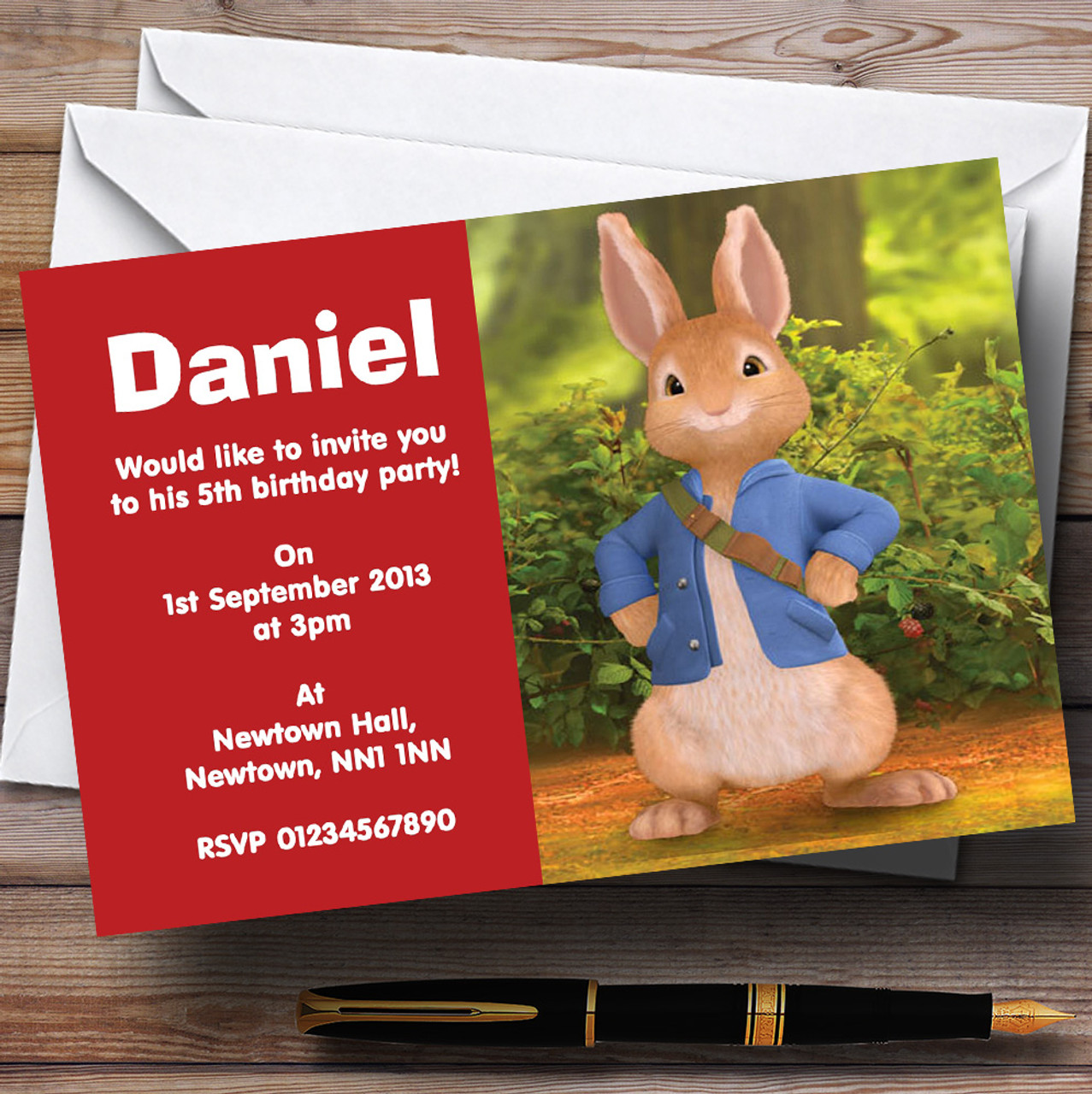 Peter Rabbit Personalised Childrens Birthday Party Invitations