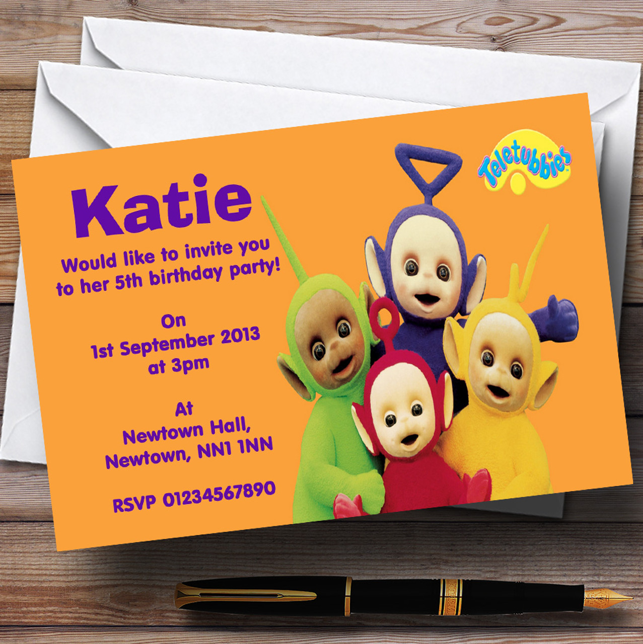 teletubbies personalised children s birthday party invitations the