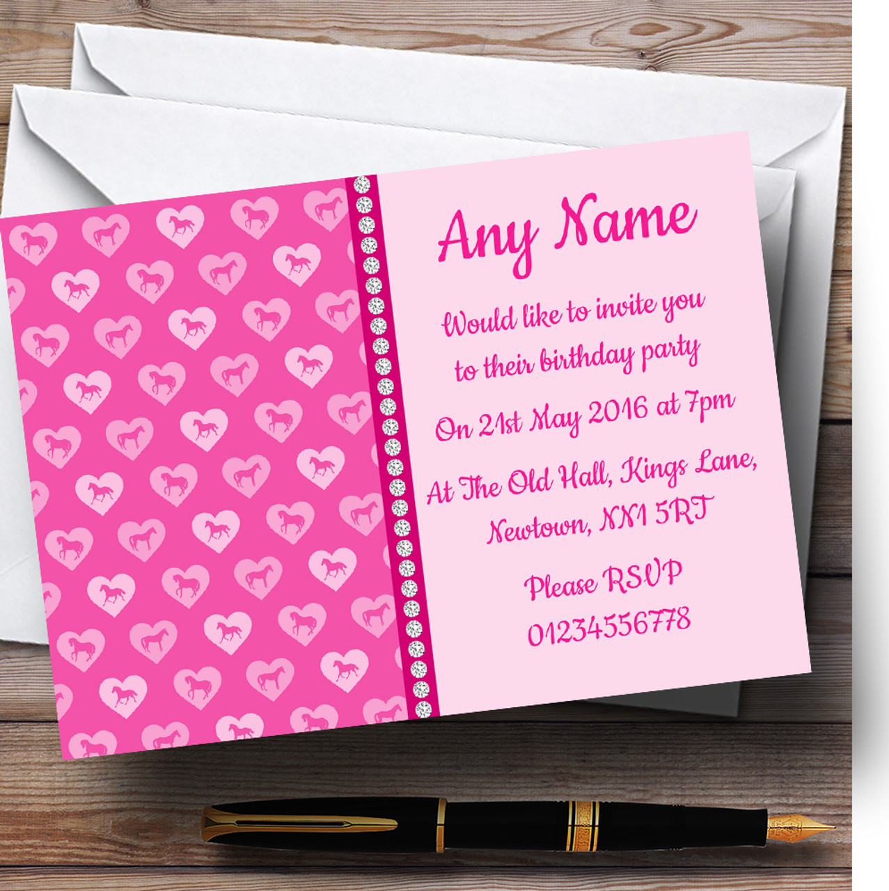 Pink Horses Personalised Childrens Birthday Party Invitations