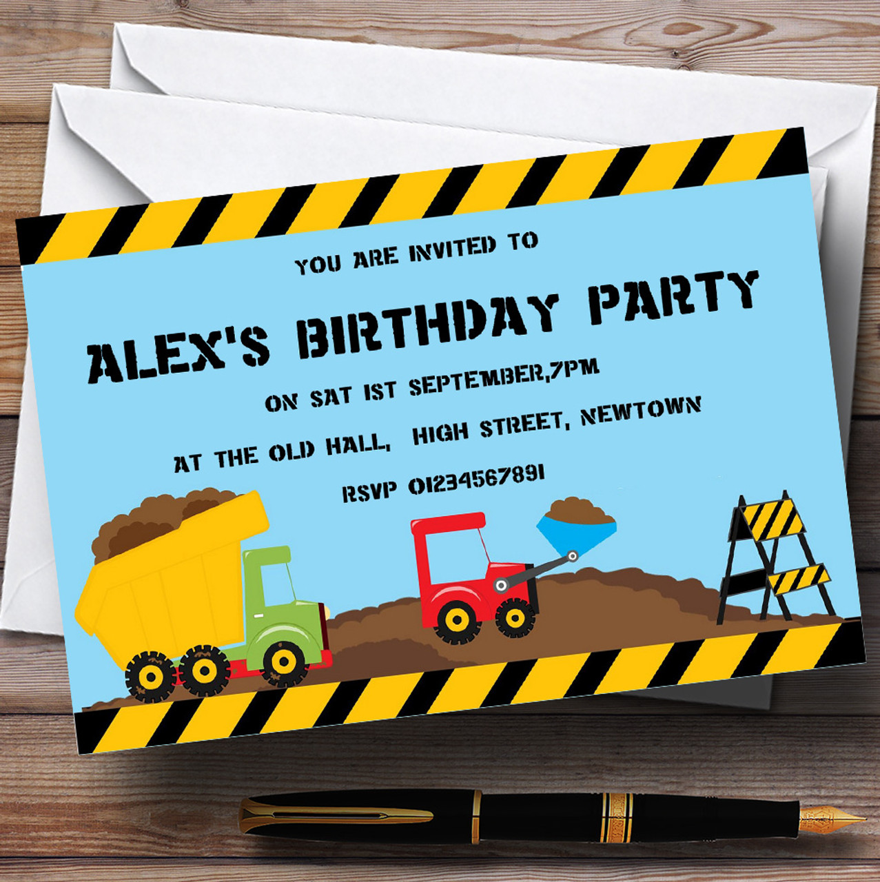 5 X Personalised DIGGER CONSTRUCTION Birthday Party Invitation Stationary