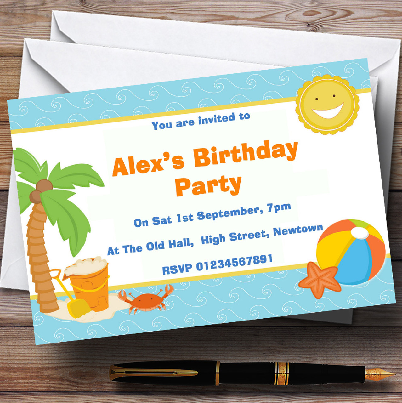 Beach Holiday Swimming Pool Theme Personalised Birthday Party Invitations