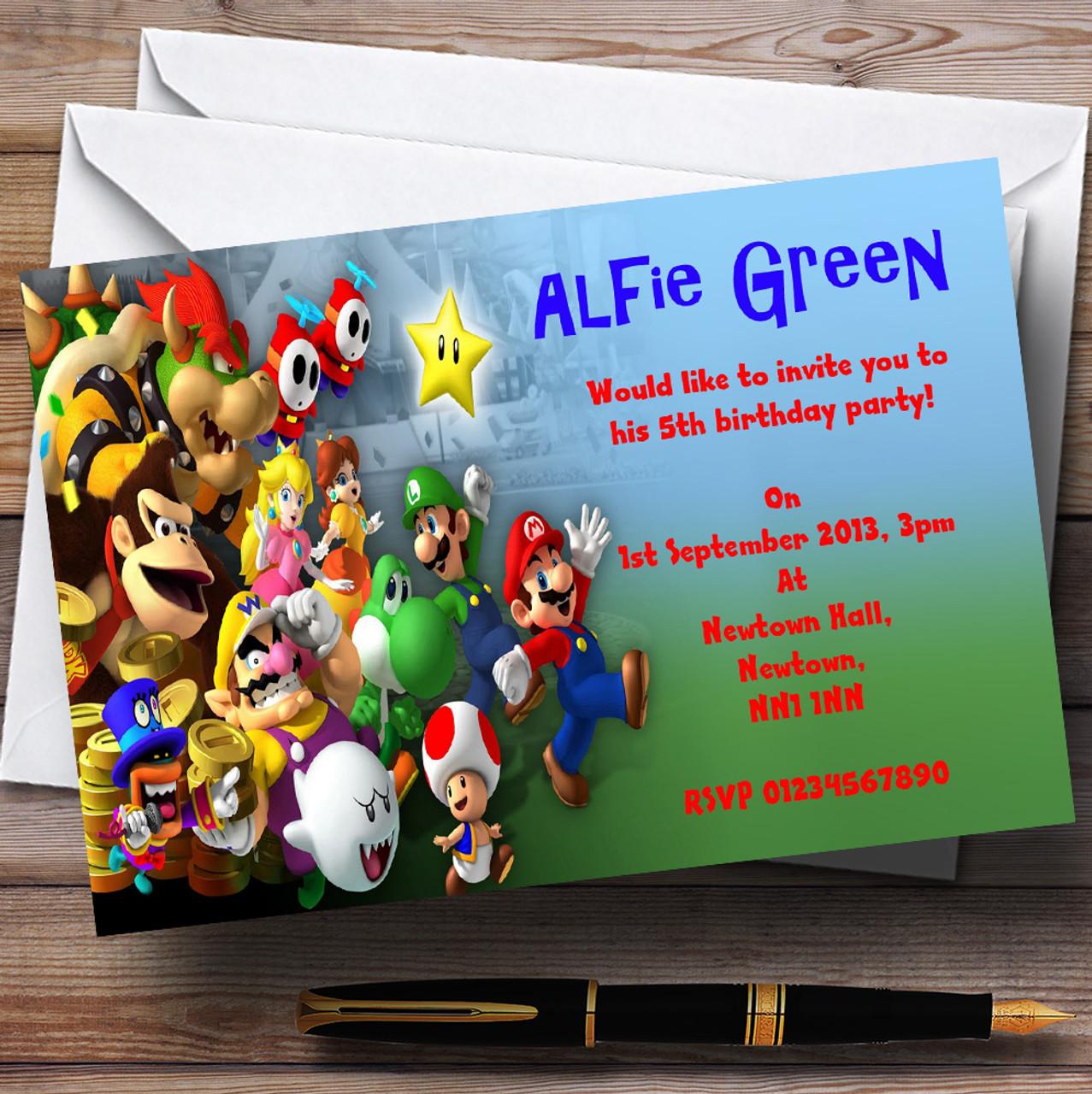 Super Mario Bros Luigi Nintendo Personalised Children S Party Invitations