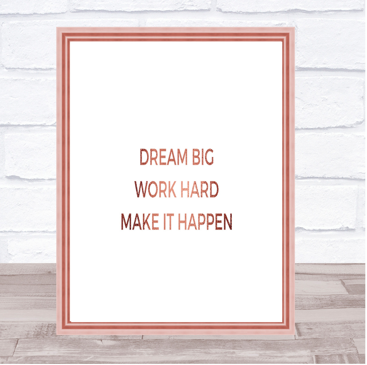 Make Dreams Happen Quote Print Poster Rose Gold Wall Art