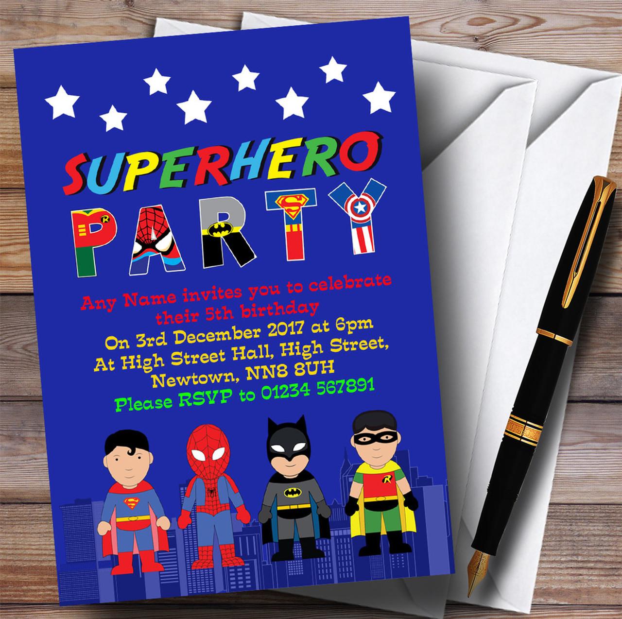 Chalk Bunting Superhero Children/'s Birthday Party Invitations