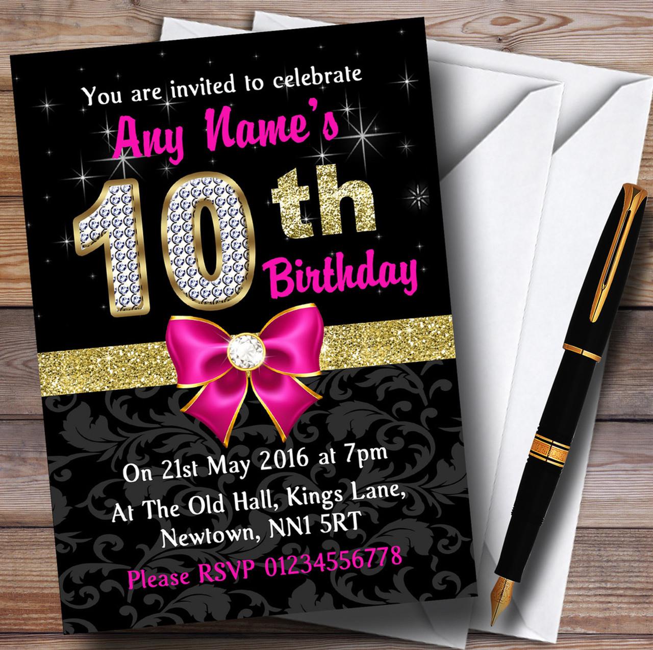 Pink Black Gold Diamond 10Th Birthday Party Personalised Invitations