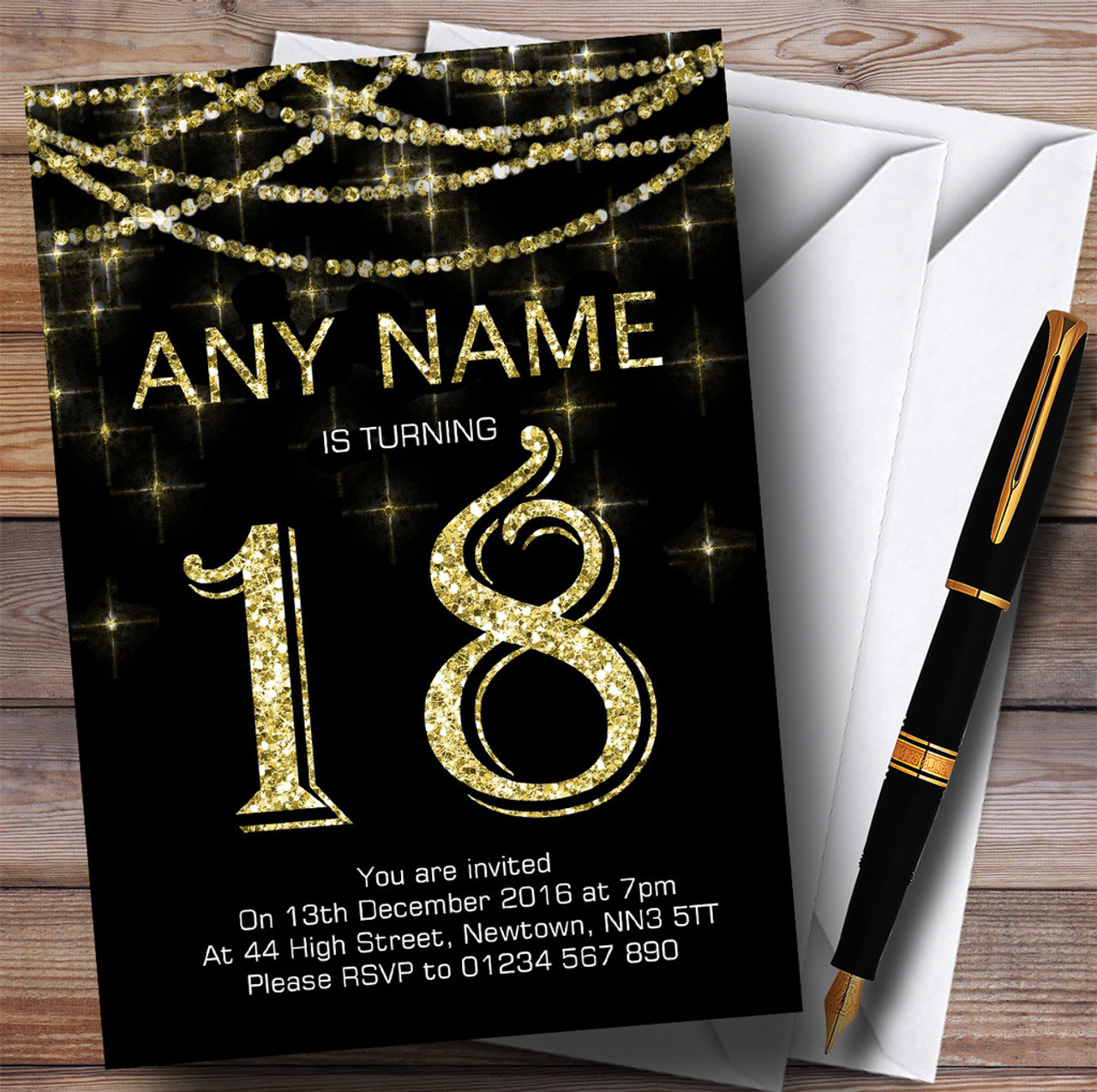 Black Gold Sparkly Garland 18th Personalised Birthday Party Invitations