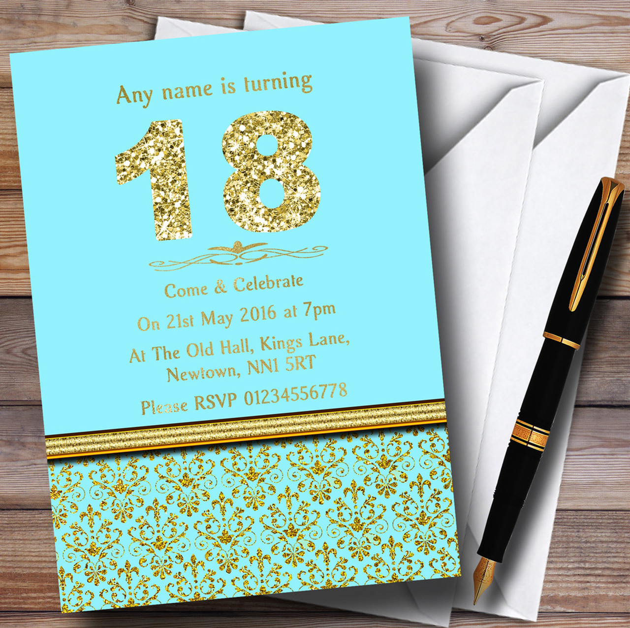 Aqua Sky Blue Gold Vintage Damask 18Th Personalised Birthday Party Invitations