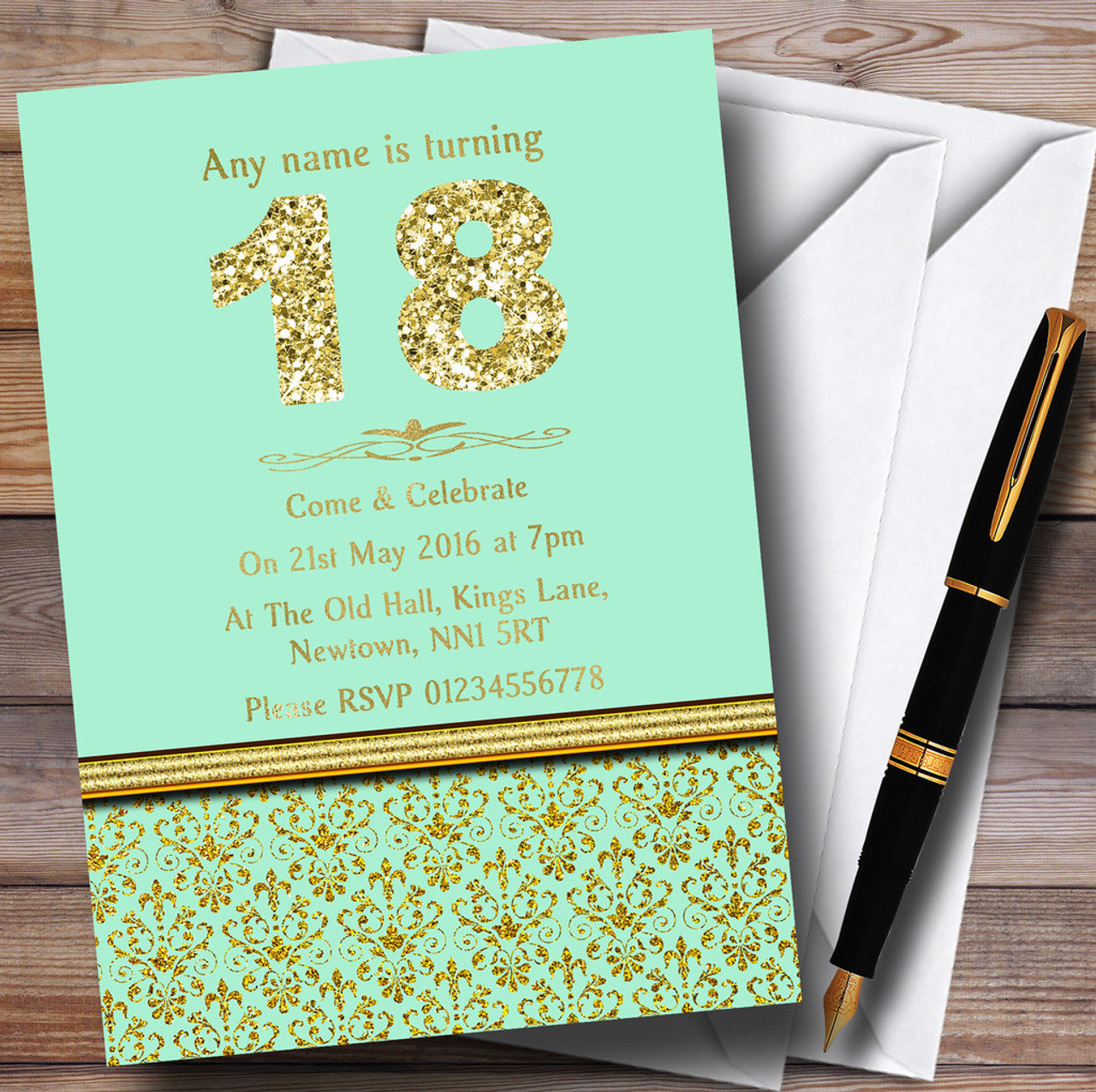 Mint Green Gold Vintage Damask 18Th Personalised Birthday Party Invitations