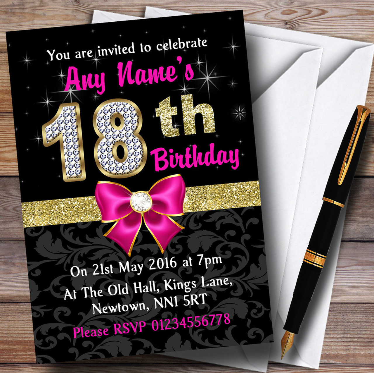 Pink Black Gold Diamond 18th Birthday Party Personalised Invitations