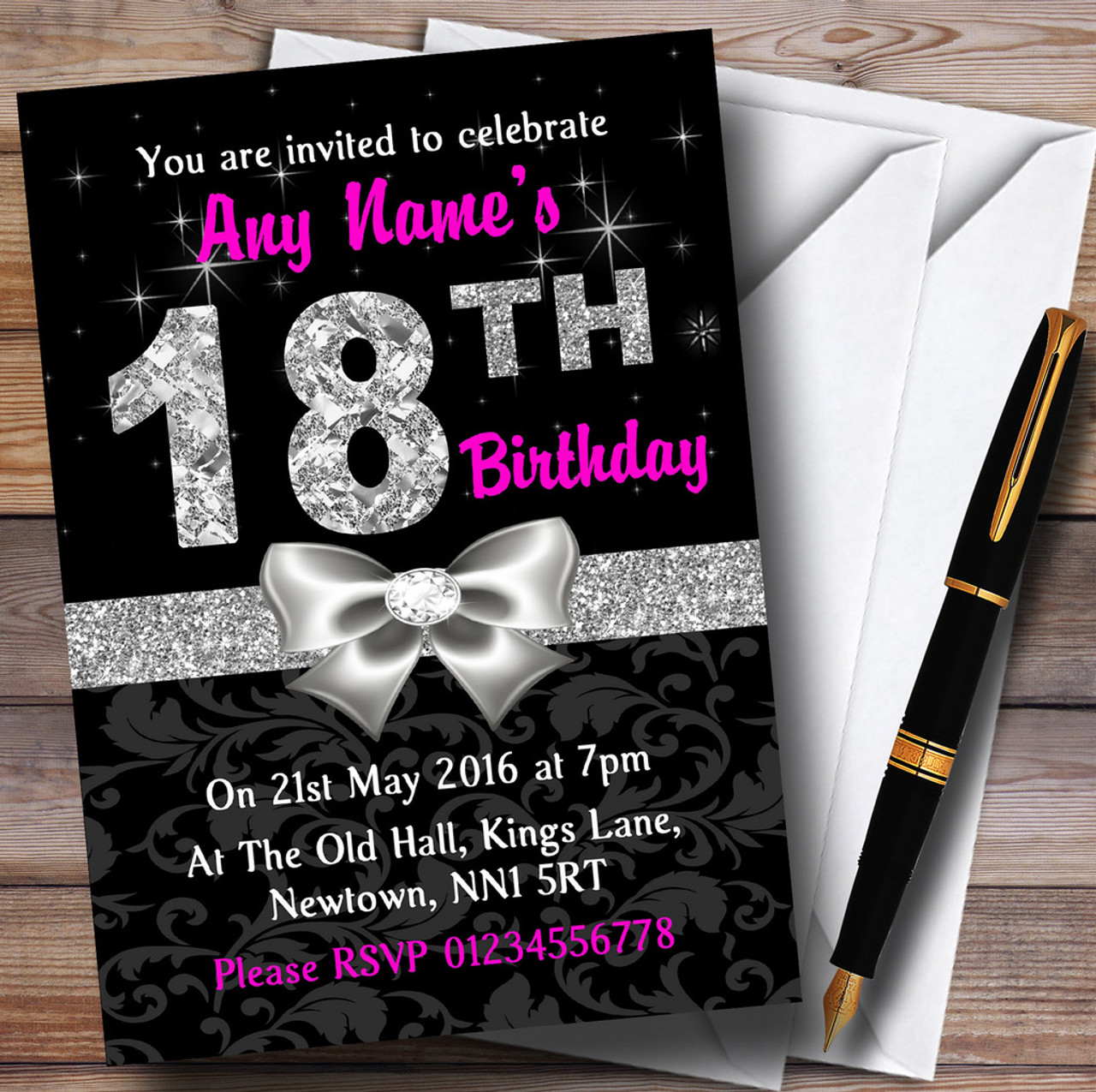 Pink Black Silver Diamond 18Th Birthday Party Personalised Invitations