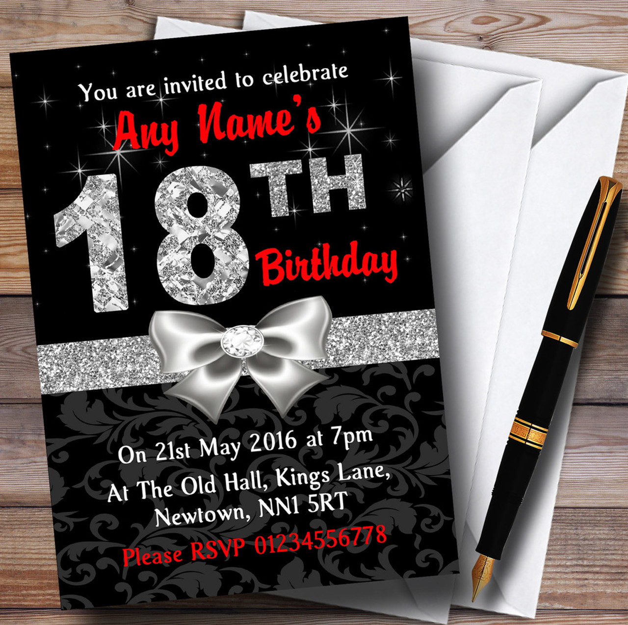 Red Black Silver Diamond 18Th Birthday Party Personalised Invitations