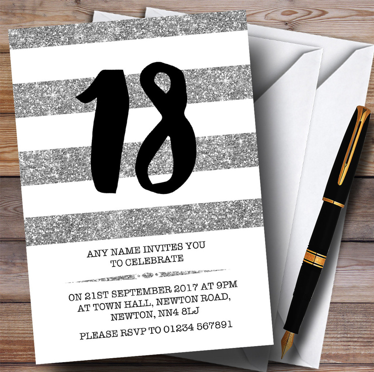 White Bokeh /& Silver Glitter Look 5Th Personalised Anniversary Party Invitations