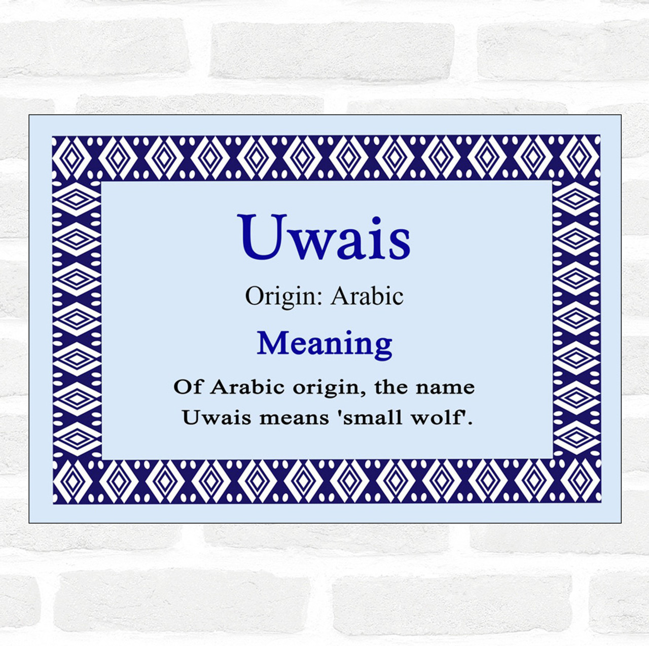 Uwais Name Meaning Blue Certificate