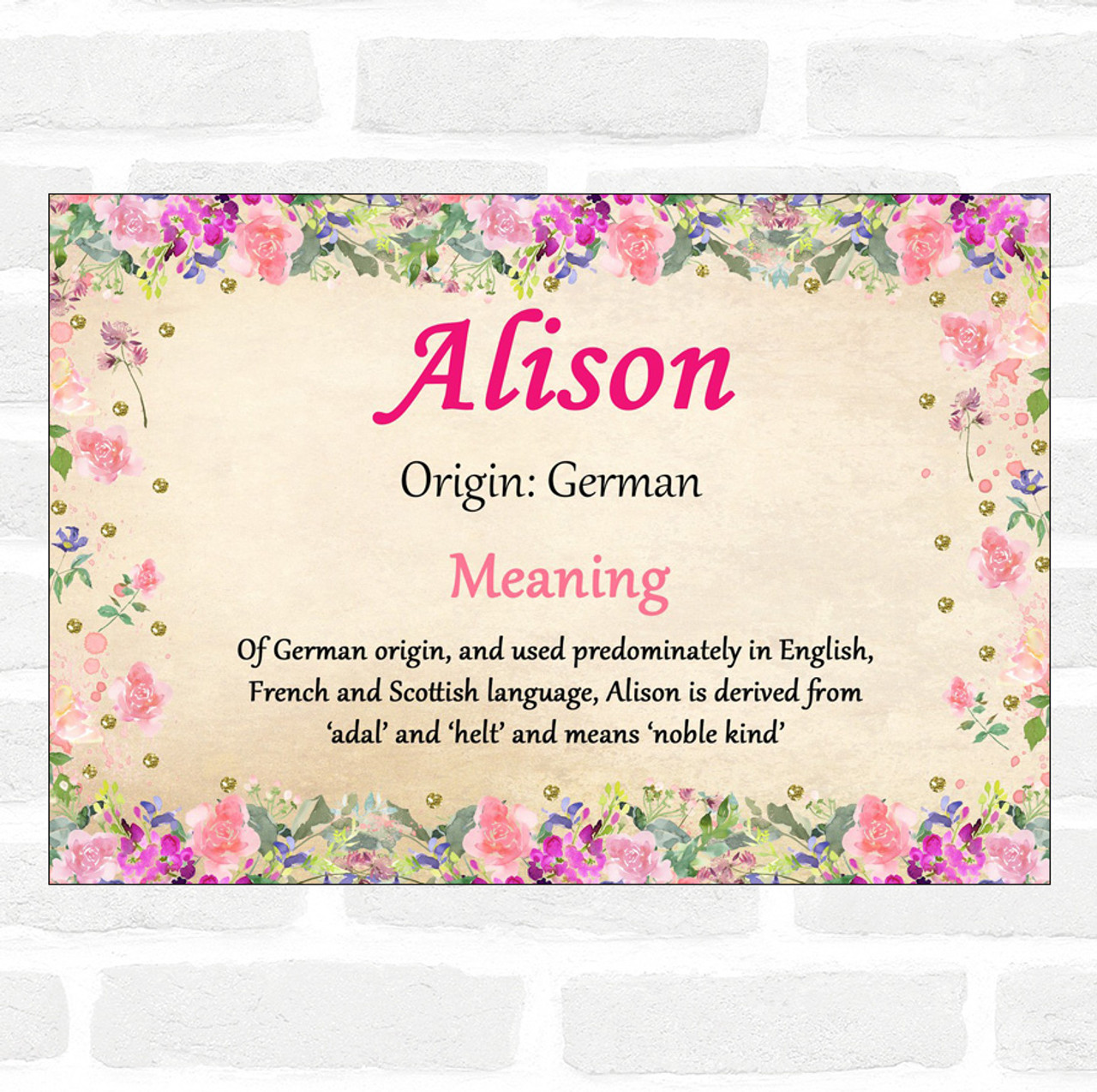 Alison Name Meaning Floral Certificate The Card Zoo