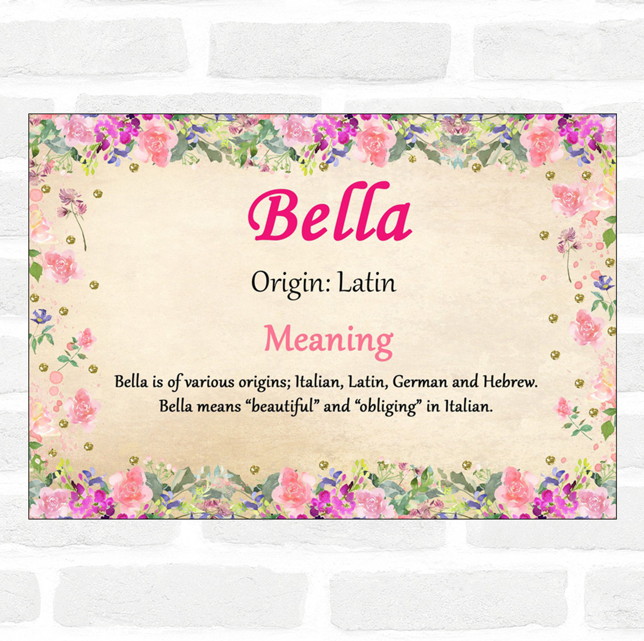 Bella Name Meaning Floral Certificate - The Card Zoo